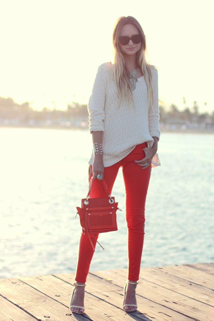Simple edgy red jeans and ivory sweater