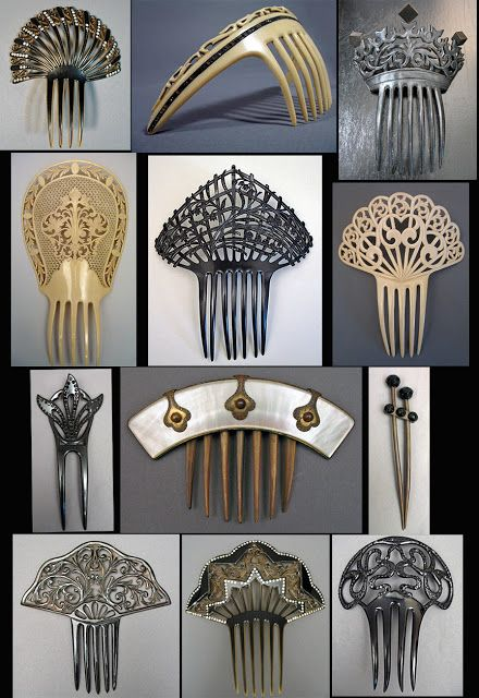 Mid 19th Century Victorian to 1910s Edwardian combs in black and ivory celluloid, with one mother of pearl and horn, and one rubber with jet beads.
