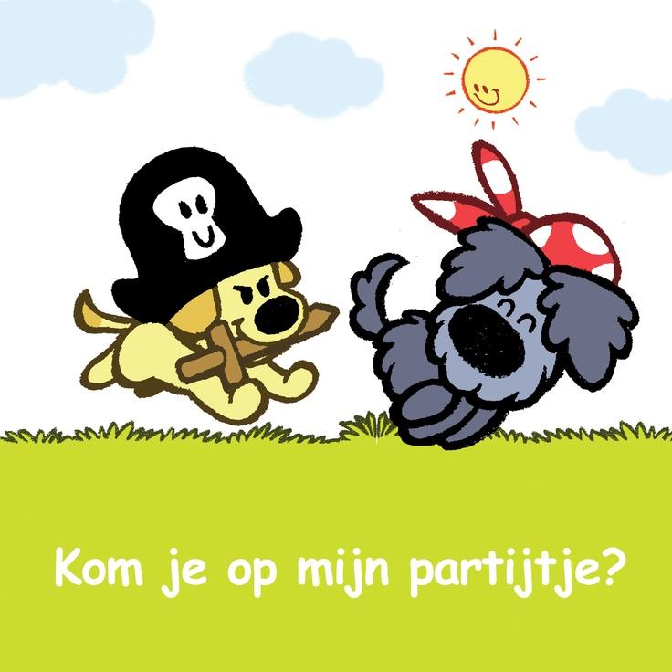 Uitnodigingskaart van Woezel & pip