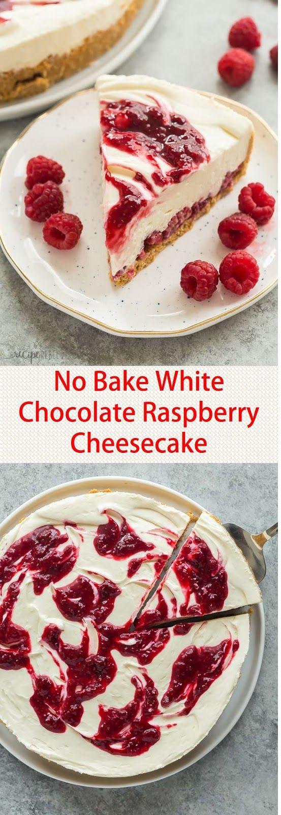 Gâteau au fromage aux framboises et au chocolat blanc sans cuisson #nobakedessert   – Backen macht Spaß