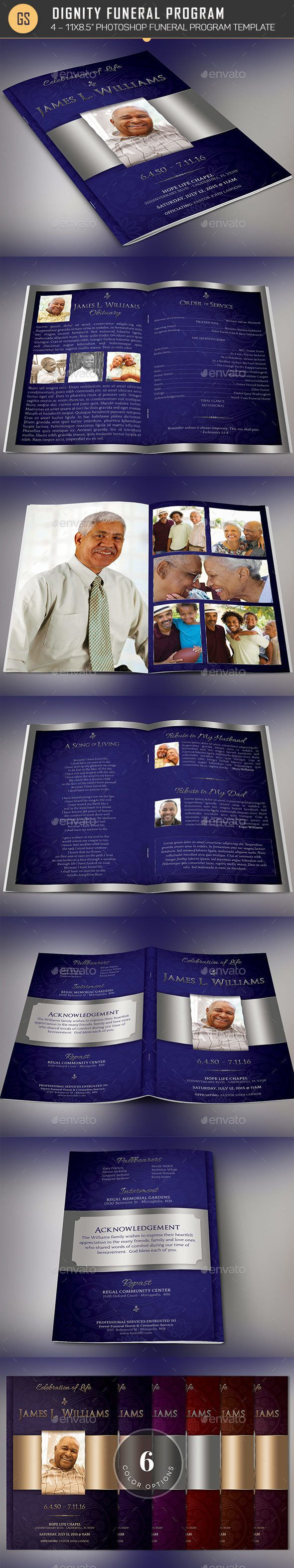 Dignity Funeral Program Photoshop Template is for a modern memorial or home going service. It¡¯s silver decals and text style laid