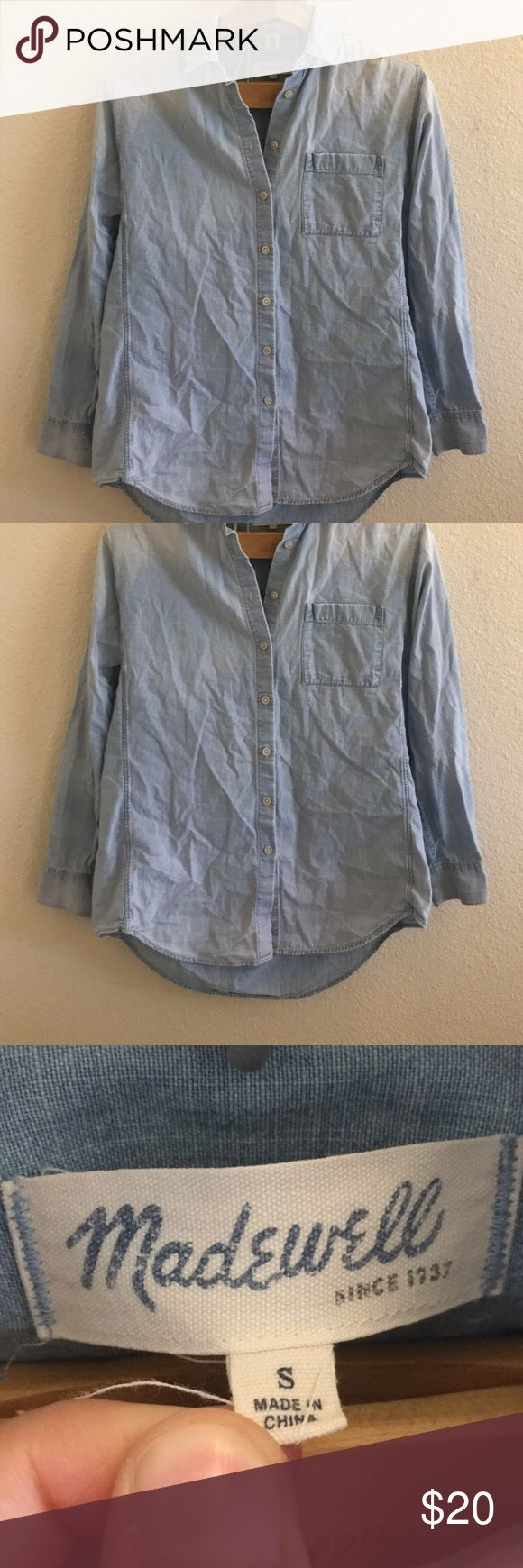 Madewell Chambray Top Size small light blue chambray top by Madewell. Slightly longer in the back than in the front. Button up front, super soft material. Small hole on the shoulder as pictured. Willing to negotiate! I ship daily - excluding Sundays and holidays - and I store items in a smoke free, pet free environment. Open to offers; bundles discounted! Madewell Tops Button Down Shirts