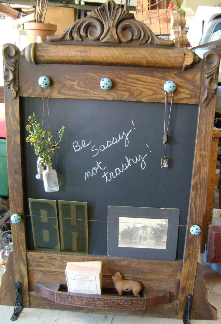 Thrift Store Furniture Makeovers- Lots of tutorials, including this dresser mirror turned chalkboard by Sassy Trash!