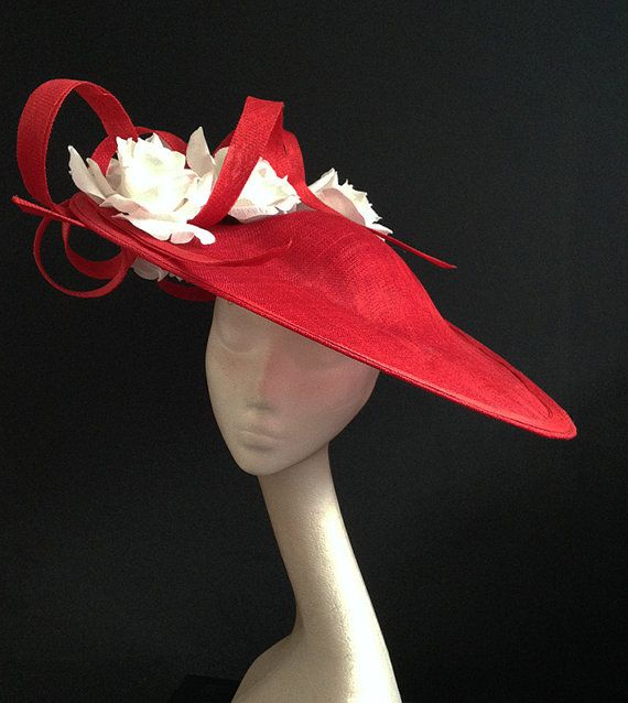 Red & White Large Rose Saucer - Great hat for Weddings or Races can be made in other colours