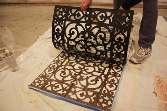 neat ideaSprays Painting, Wall Art, Wall Hangings, Dark Stained, Doors Mats, Lights Coats, Creamy Colors, Floors Mats, Cabinets Doors