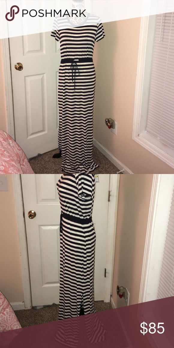 NWT Michael Kors nautical maxi dress NWT.  Gorgeous to pair with wedges or flip flop in your spring break or summer vacation.  Tie waist and side slots on both sides.  Super soft and comfy. MICHAEL Michael Kors Dresses Maxi