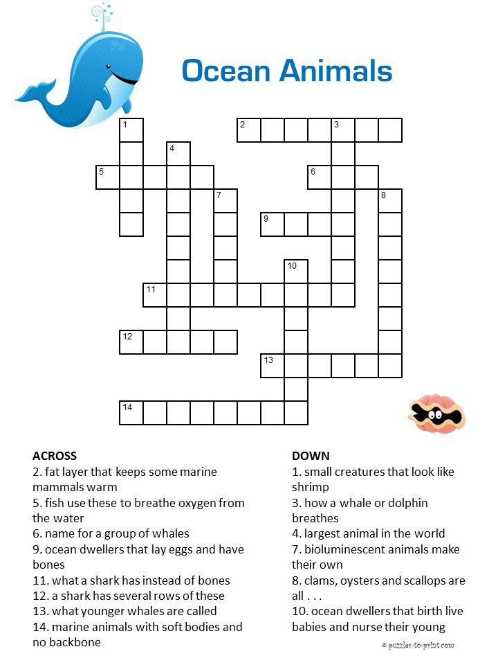 Here is a great little crossword puzzle for introducing kids to ocean animals.  It could be used as a grade school activity if you are studying the ocean.