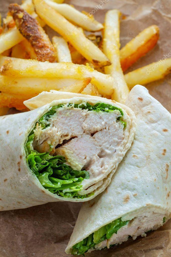 Chicken Caesar Wrap Sandwich Stock Photo Sponsored Wrap Caesar Chicken Photo Ad Chicken Caesar Wrap Wrap Sandwiches Chicken Caesar Salad
