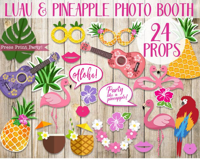 Hawaiian Luau Photo Booth Props, Pineapple Photo Props, Flamingo Props, Luau Photo Props, Luau Party Decorations, Birthday, INSTANT DOWNLOAD