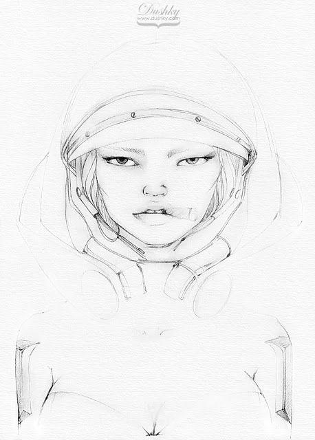 illustration by #dushky | #art #fashion #illustration #gaming #videogames #starcraft #girl #ginger #orange #blue #lips #look #cigar #drawing #metal #armour #corphack