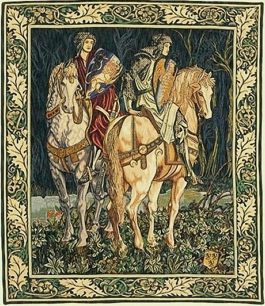 """^click to enlarge^ After a set of large tapestries drawn by William Morris and Edward Burne- Jones and then woven in the workshops of Morris and Company (1890-1895). These tapestries were considered a major piece of decorative art during the Victorian era. King Arthur's """"Knights of the Round Table"""" bid farewell on their way to pursue the Quest for the Holy Grail. Jacquard Woven in France Backed with lining Rod tunnel for easy hanging 95% Cotton 5% Viscose Loiselles Stitch Available in 2 ..."""