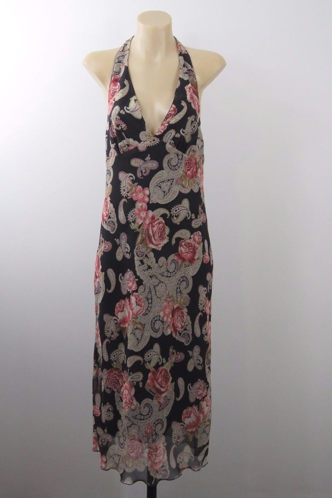 Size M 12 AMNESIA Ladies Halter Dress Black Paisley Vintage Retro 1970's Gypsy #Amnesia #TeaDress #Cocktail