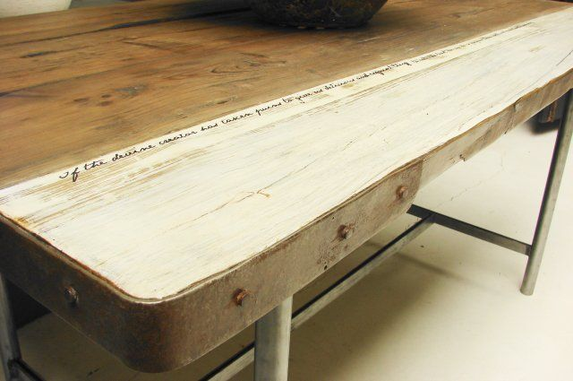 Dining Room Table Made From Reclaimed Wood With Metal Legs And Paint And  Writing Detail On