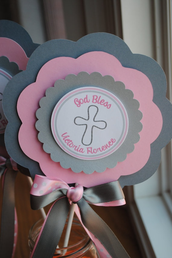 Baptism christening xl centerpiece by mlf on etsy