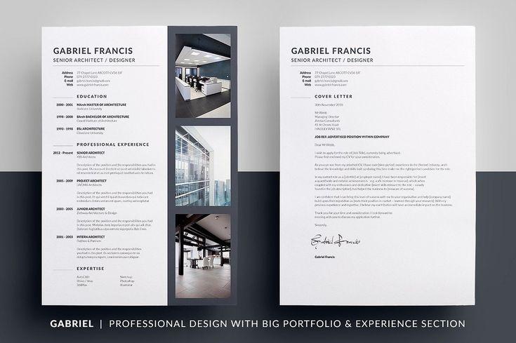 Essential Resume - Gabriel by bilmaw creative on @creativemarket - senior architect resume