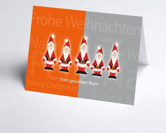 Orange-graue Team-Weihnachtskarte mit Nikoläusen http://www.weihnachtskarten-plus.de/weihnachtskarten/teamwork-weihnachtskarte/718-artnr-150111-a-teamkarte-weihnachtsmaenner.html