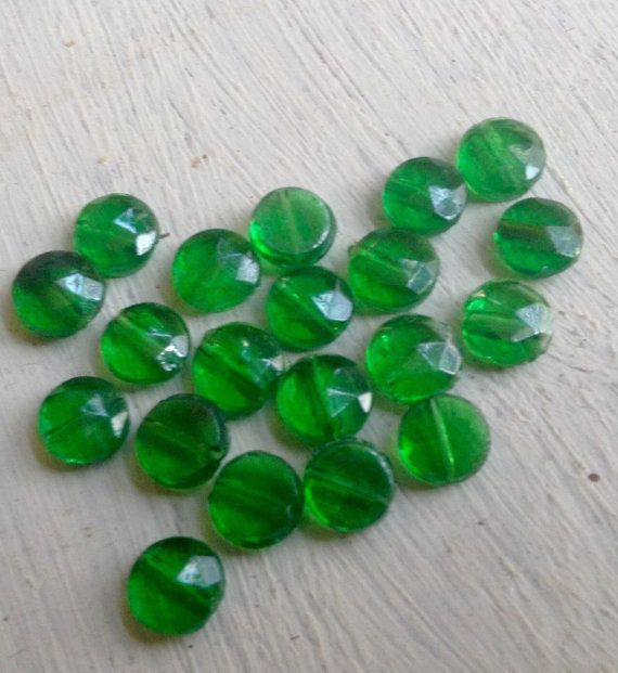 Vintage nailhead beads bottle glass Green by FrenchSteelCutBeads