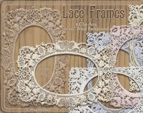 Digital LACE FRAME Clip Arts Tattered Oval Photo by pixelmarket