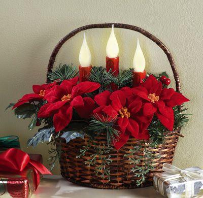 Pretty Poinsettia Holiday Wall Basket
