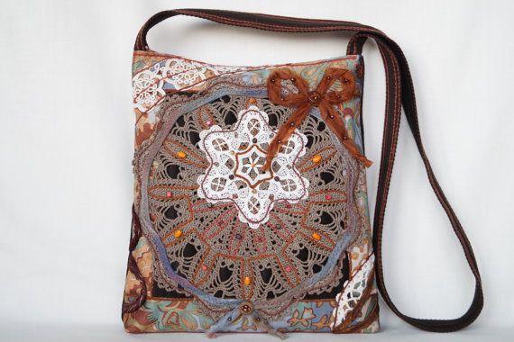 Brown beige beautiful crocheted lace bag medium by bokrisztina