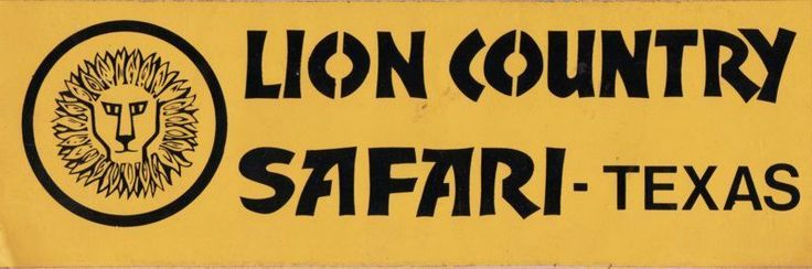 1970s Vintage Decal Lion County Safari Grand Prairie TX Wildlife Park Texas