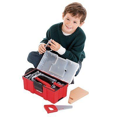 """My First Craftsman Toy Toolbox with Plastic Tools by Craftsman. $30.94. Includes Plastic Toy Tools: (1) Tool Box / (1) Wood Saw / (2) Wrenches / (4) Nuts with Washer / (4) Screws / (1) Philips Head Tip Screwdriver / (1) Flat Head Tip Screwdriver / (1) Hammer / (1) Pliers  / (1) """"Wood"""" Piece  / (1) Tool Tray. My First Craftsman Toy Toolbox with Tools. Ages 3+. Perfect for Pretend Play. The My First Craftsman Toy Toolbox with Tools is ideal for toddlers...Deep bin holds ..."""