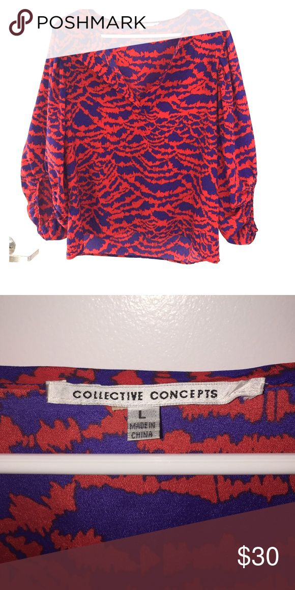 Collective Concepts Blouse Red and purple patterned Blouse Collective Concepts Tops Blouses