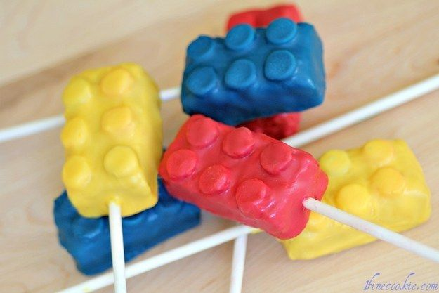 Blow your guests' minds with adorable Lego cake pops. | How To Throw The Ultimate LEGO Birthday Party