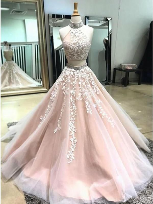 e4a49a7c90d Prevail Two Pieces Prom Dresses With Appliques