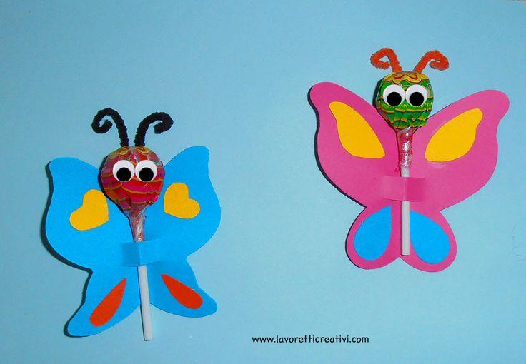 Se siete alla ricerca di un pensierino da donare ai bambini questa è l'idea giusta: allegre farfalle con chupa chups per fine anno scolastico.