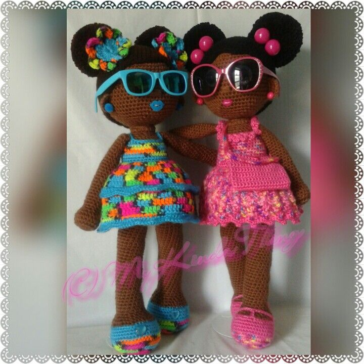 Crochet Dolls; African American dolls with afro puffs and removable purse accessory