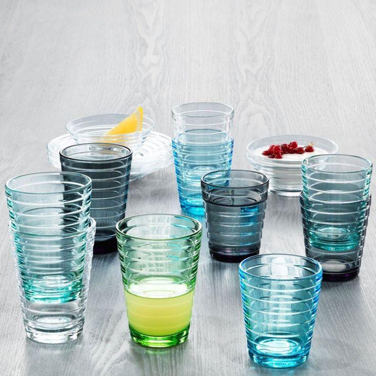 Iittala Aino Aalto glazen: In 1932 door Aino Aalto ontworpen glazen met een vorm als cirkels in water. Wie wilt deze glazen nou niet op tafel.