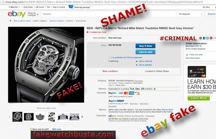 Ebay username laurasun shame for selling this fake richard mille watch on ebay lol #shame #fake #fbi #police #illegal #dhs #ice #fakewatchbusta fakewatchbusta.com