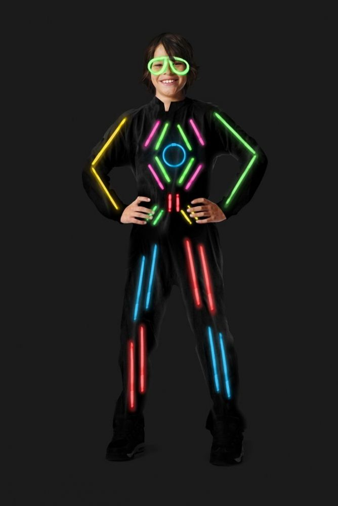 LightSuit - Child ages 4-6  Get Lit this Halloween!  With 'LightSuits' you literally just slip on the included black jumpsuit, peel the special tape off and stick the glowsticks on the jumpsuit. Turn out the lights, start dancin' and watch your stick-man creation come to life! Each kits includes one costume, 50 self-adhesive glow sticks, connectors and glow glasses.