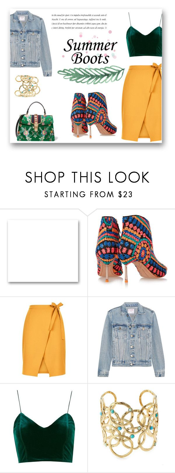 """""""Summer boots"""" by alexandra-barbu-1 ❤ liked on Polyvore featuring St. John, Sophia Webster, New Look, Frame, Topshop, Gas Bijoux and Gucci"""
