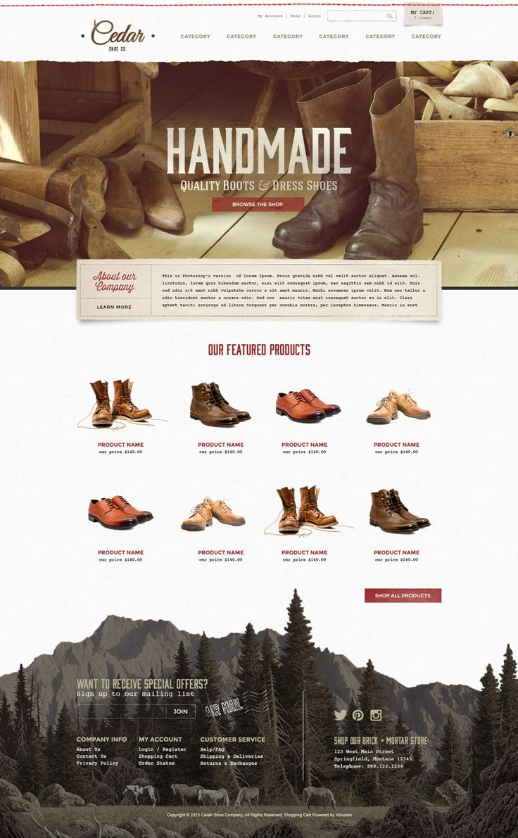 Cedar | Ecommerce Templates by Volusion | SEO Friendly Free Template or Custom Ecommerce Site Design