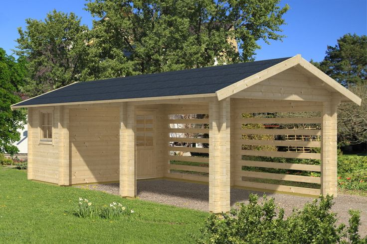 Holz-Carport-Bausatz SKANHOLZ Stockholm mit Anbauschuppen Massivholz-Bauweise - Großes und stabiles Carport mit Anbau-Geräteschuppen unter einem Dach. Sehr hochwertig und stabil.