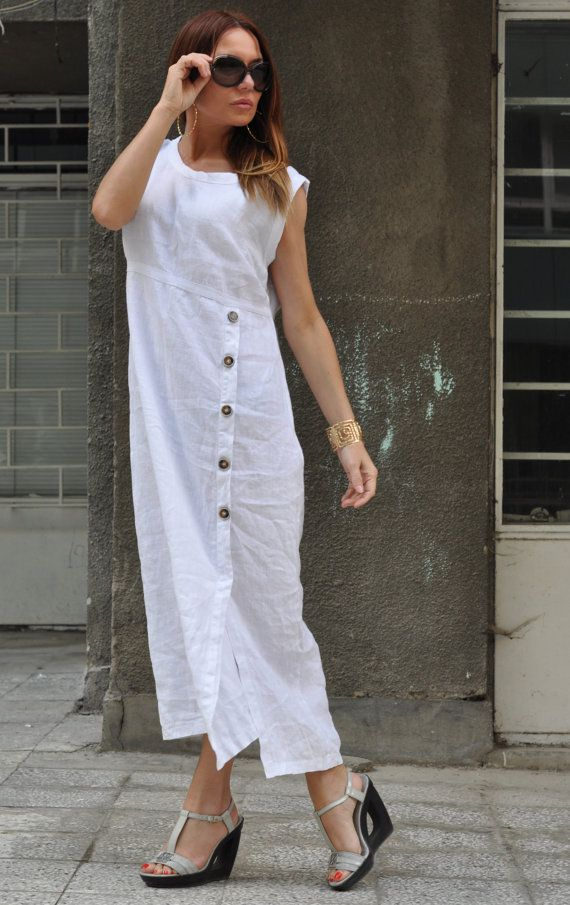 XXLXXXL Maxi Dress / White Kaftan Linen Dress / One by EUGfashion