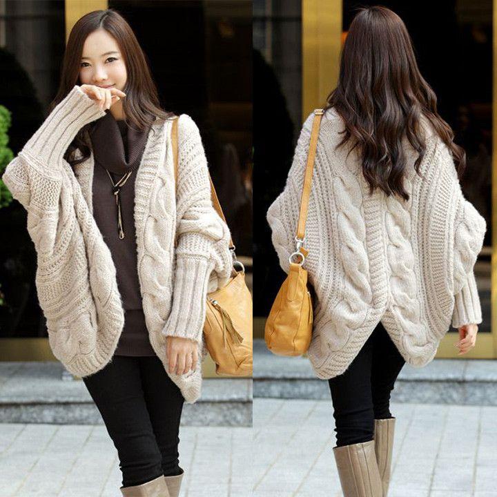 Long Sleeve Batwing Crochet Cardigan Poncho Sweater