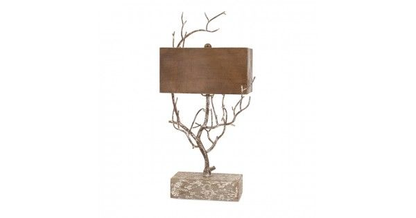 "Sherwood Metal Tree Lamp  Item Dimensions: 29""h x 15.75""w x 11""  Item Weight: 7.5lbs.  Materials: 80% Hand Drawn Wire; 20% Fir  I think that I shall never see, a silhouette as lovely as this naturally inspired tree lamp with rectangular shade.  Disclaimer: Ships to US only!"