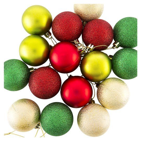 Tesco Baubles 20 Pack Traditional