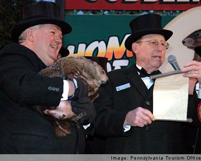 Punxsutawney Pennsylvania - Punxsutawney Phil - they keep in the town library - you can see him from the outside too