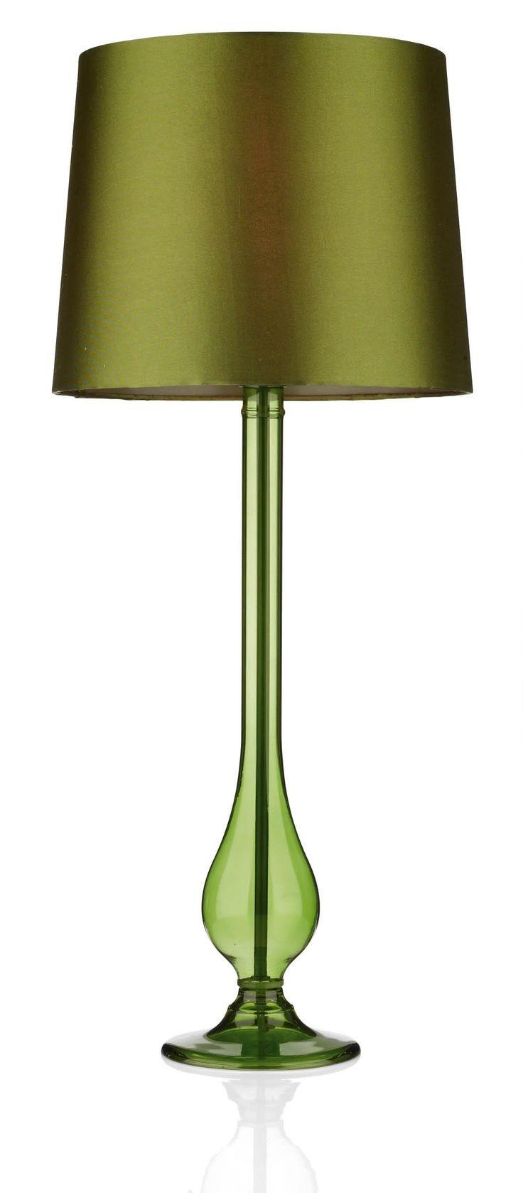 Lampe de table Dillon en verre vert Livraison Gratuite