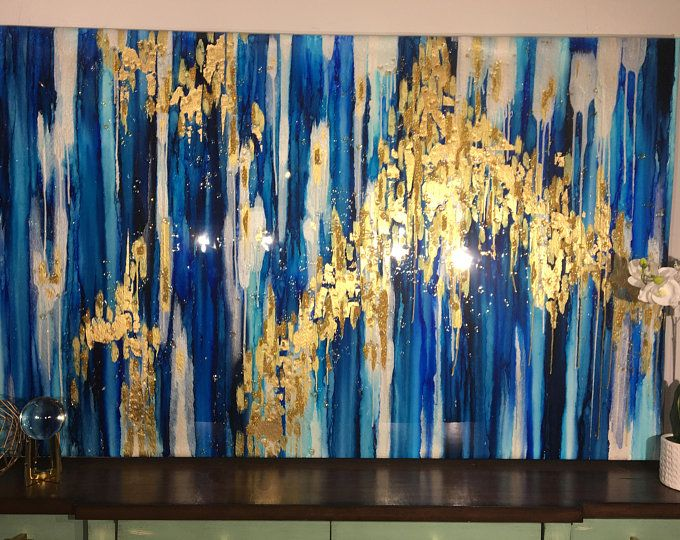 SOLD Original abstract ikat painting with gray,gold,black,and blues