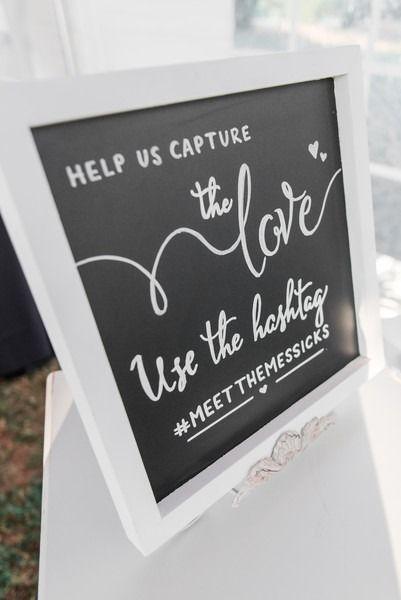 Chalkboard wedding sign - social media wedding sign {MALLORI MA | Photography}
