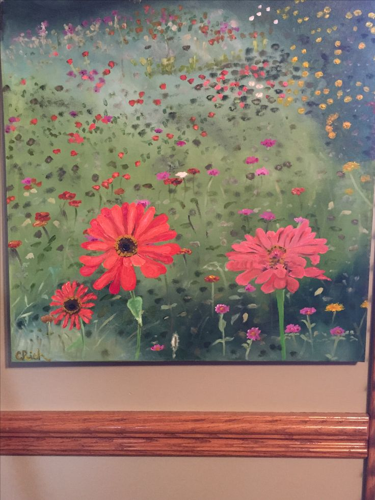 Flower garden at 47th and Sorensen, Omaha-oil on canvas by Carol Rich