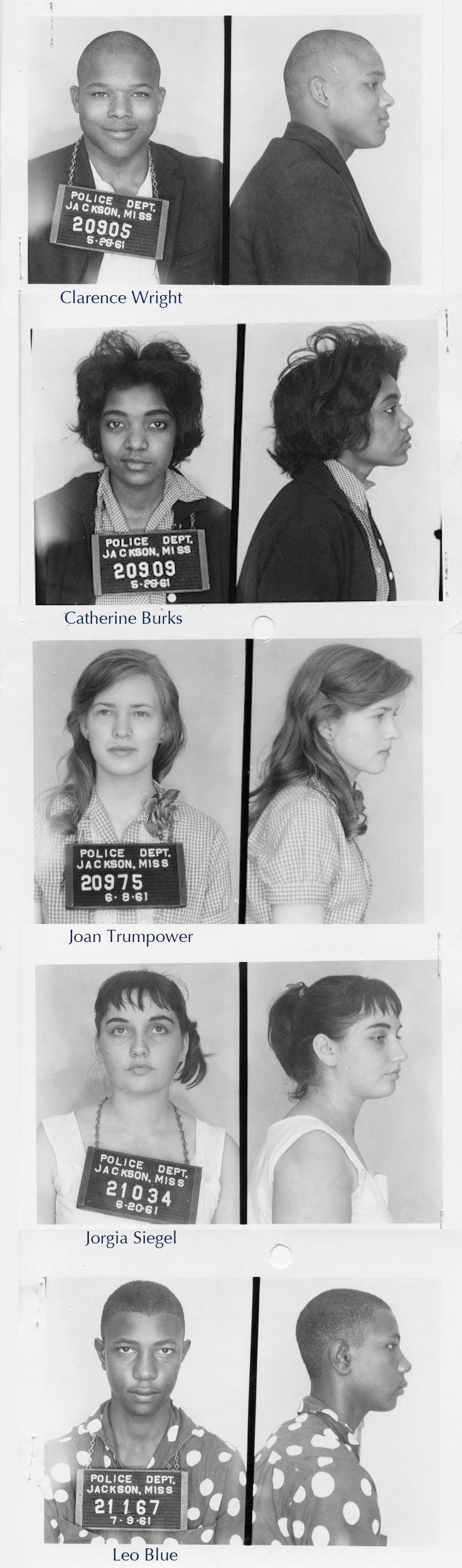 Mugshots of Freedom Riders, Jackson Mississippi, 1961. I love their faces and the range of emotions. All the tiny and not so tiny smiles, as if they know something. I wonder if they knew they'd win.