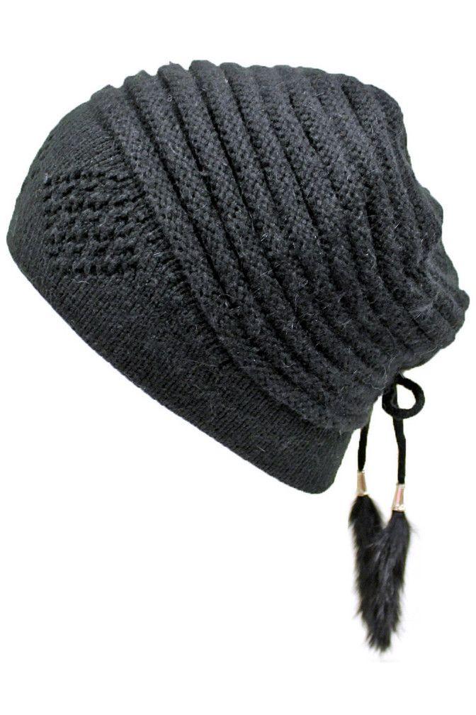 Angora Blend Knit Beanie Cap Hat With Tassels
