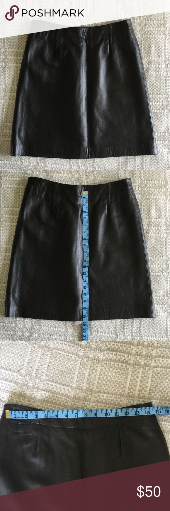 DKNY Black leather skirt 100% genuine leather with liner. Zipper in the back DKNY Skirts Midi