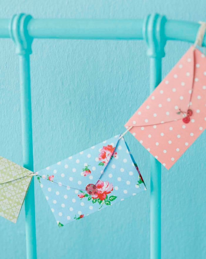 How sweet is this idea to make bunting using envelopes. This blog also won 2012…
